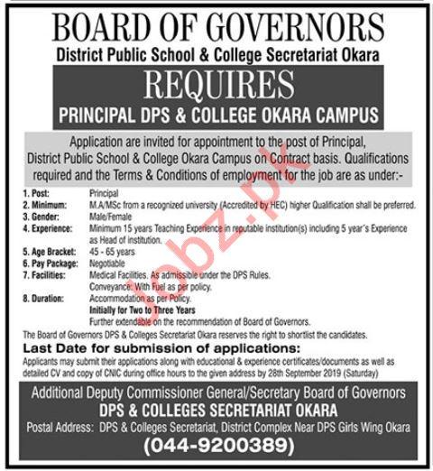 District Public School & College Job For Principal in Okara