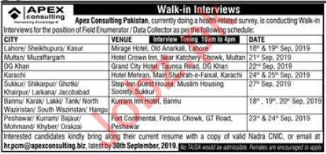 APEX Consulting Pakistan Walk In Interviews 2019