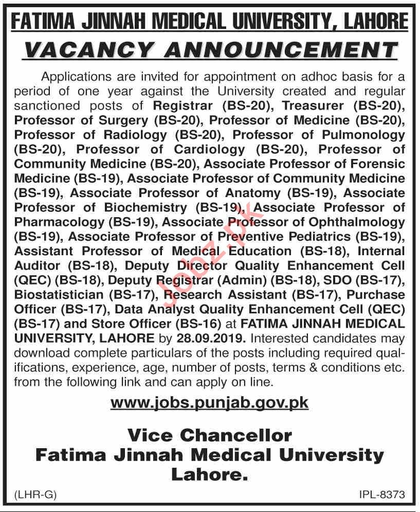 FJMU University Lahore Teaching & Non Teaching Staff Jobs
