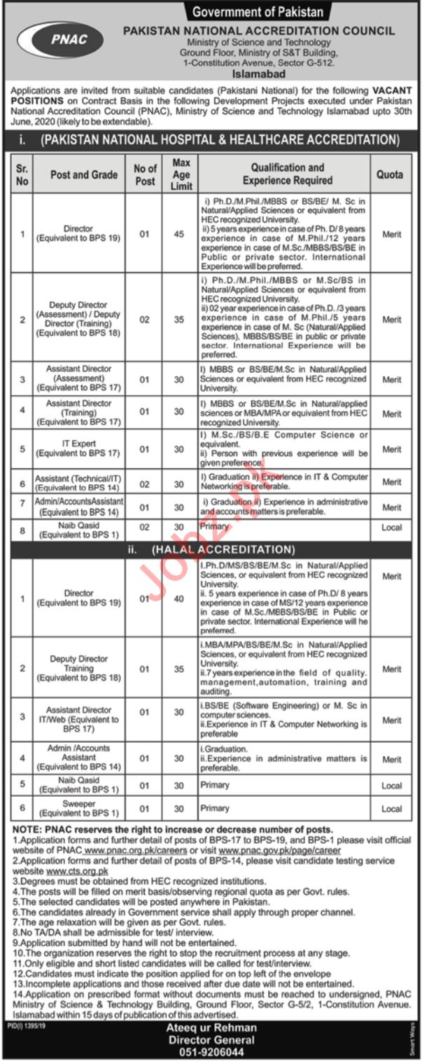 Pakistan National Accreditation Council PNAC Jobs via CTS