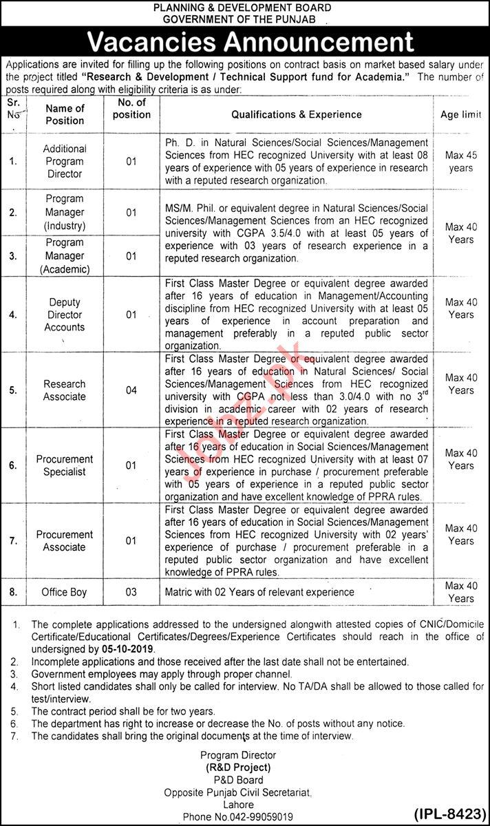 Planning & Development Board Jobs 2019 in Lahore