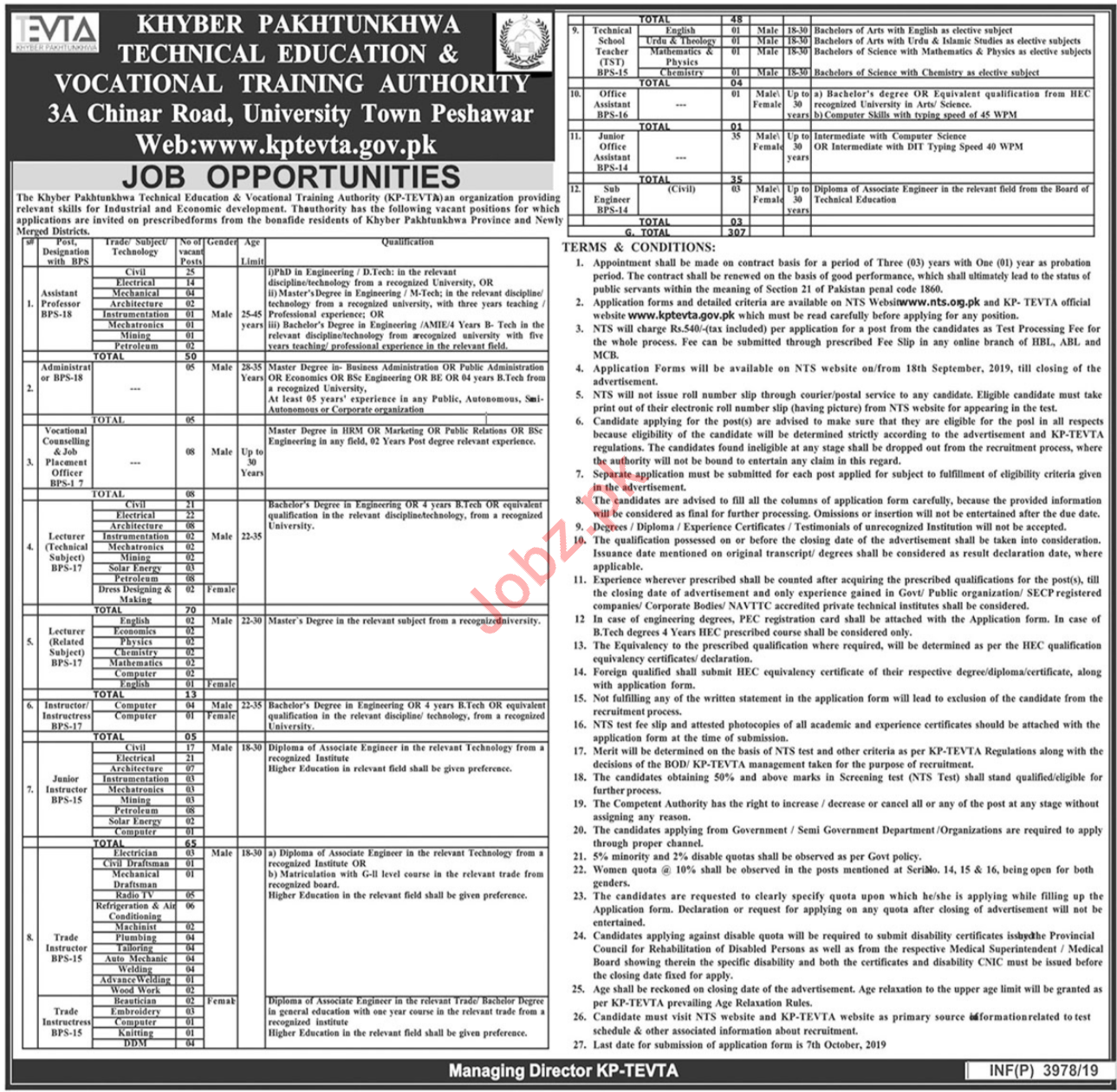 KP Technical Education & Vocational Training Authority Jobs