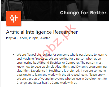 Artificial Intelligence Researcher Jobs in Lahore