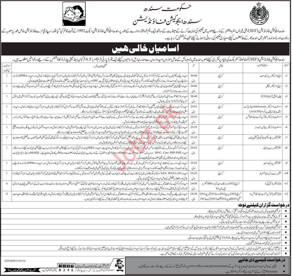 SEF Sindh Education Foundation Karachi Jobs 2019