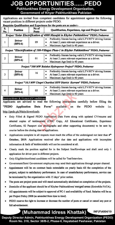 PEDO Pakhtunkhwa Energy Development Organization Jobs 2019