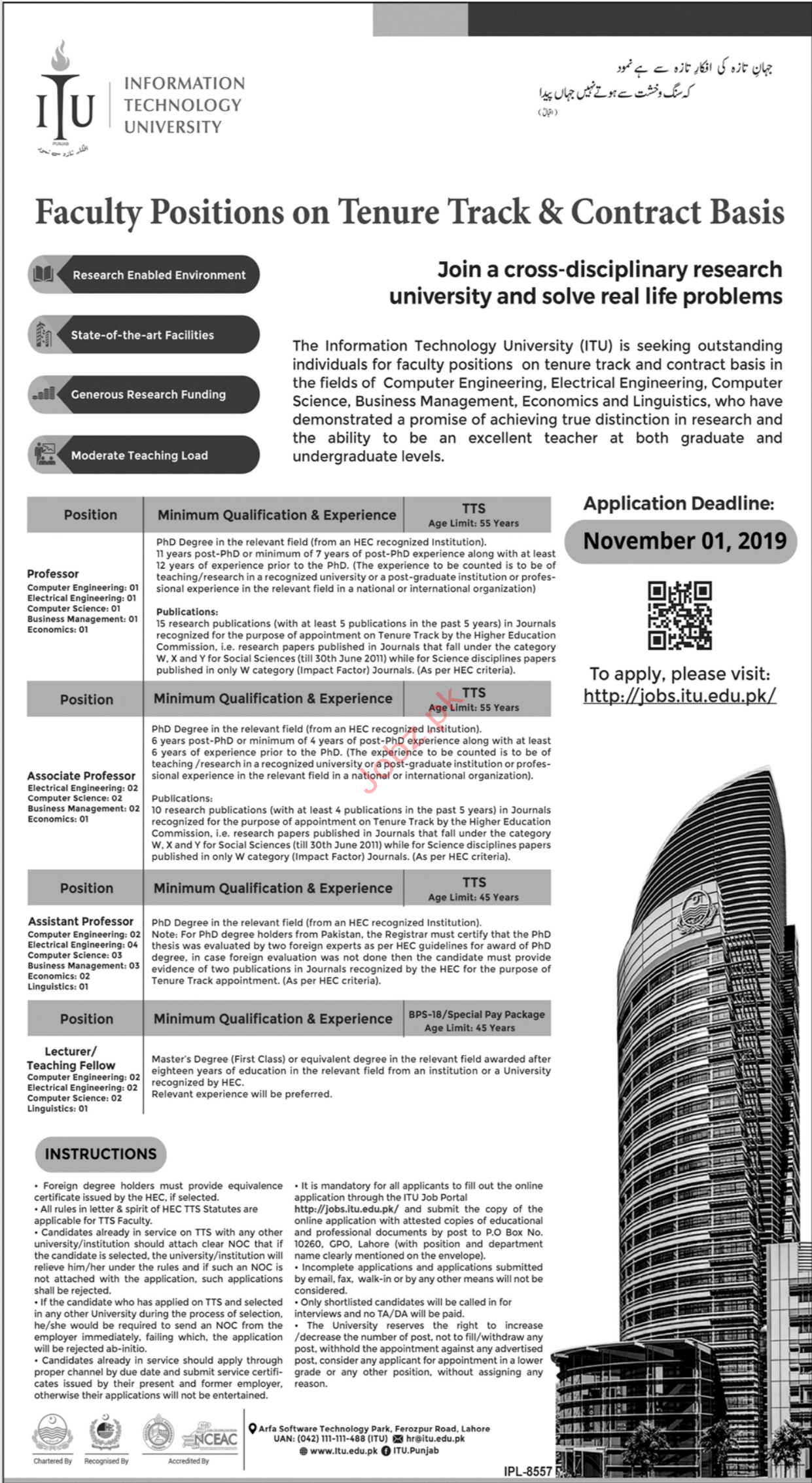 Information Technology University ITU Professor Jobs