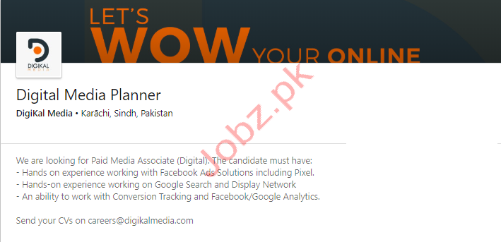 Digital Media Planner Jobs in Karachi