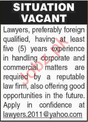 Lawyer Jobs Opportunity in Karachi