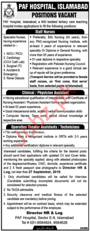 Pakistan Air Force PAF Hospital Jobs in Islamabad