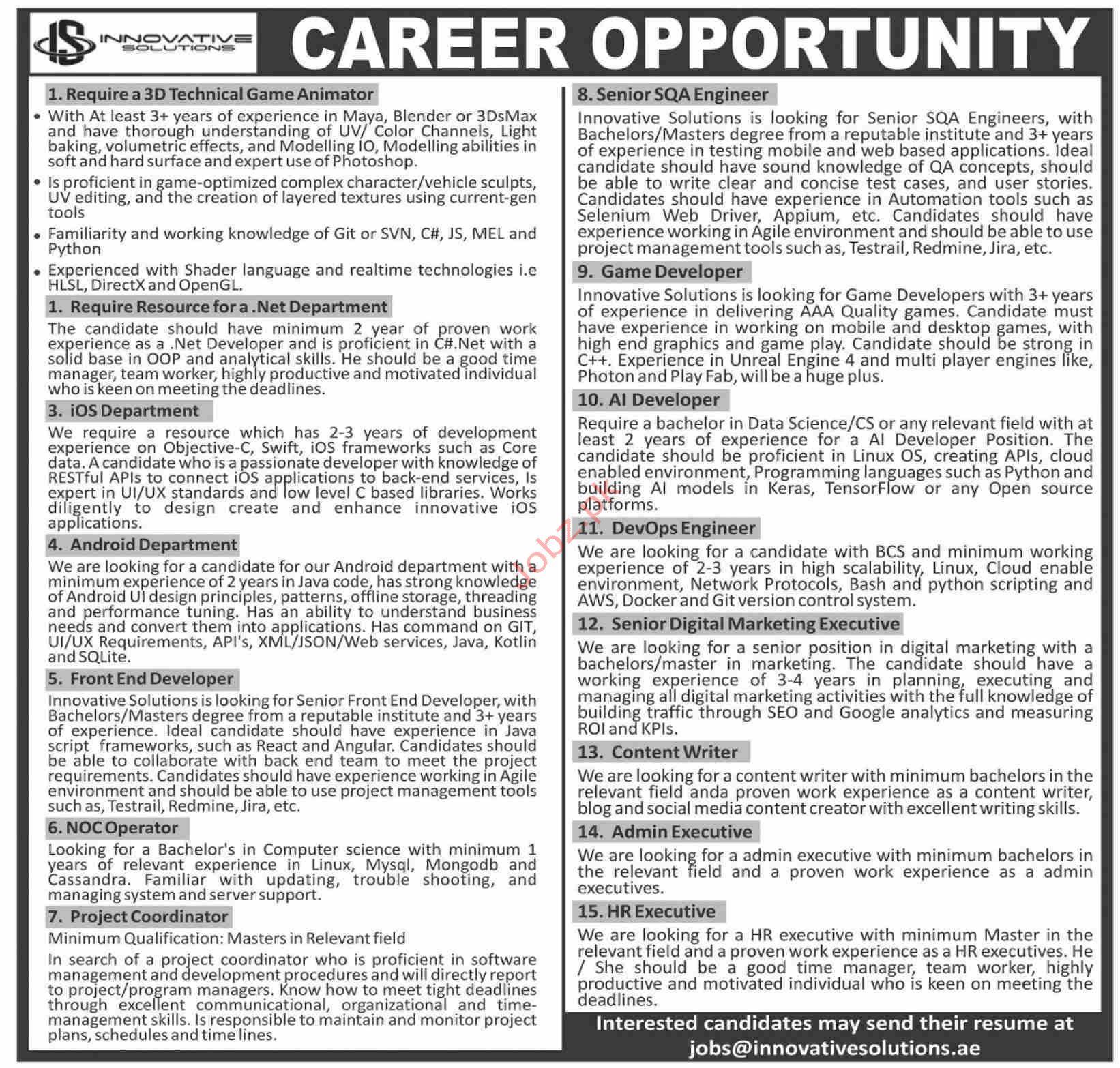 Innovative Solutions Jobs in Karachi