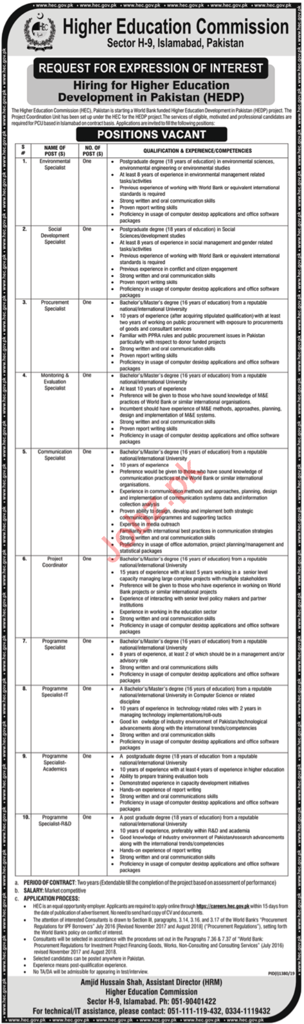 Higher Education Commission HEC Jobs 2019 For Islamabad