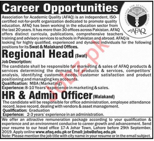Association for Academic Quality AFAQ NGO Jobs 2019