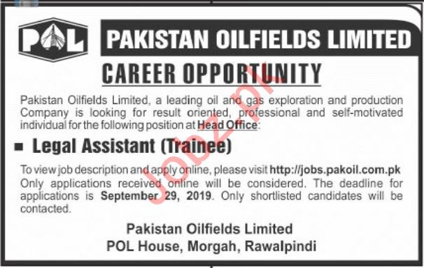 Pakistan Oilfields Limited POL Job For Legal Assistant