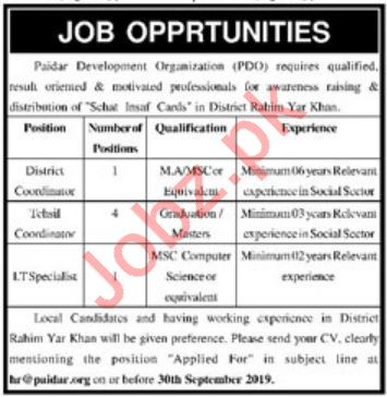 Paidar Development Organization NGO Jobs in Rahim Yar Khan