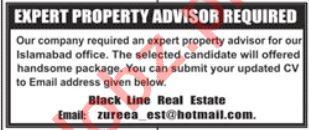 Black Line Real Estate Islamabad Jobs for Property Advisor