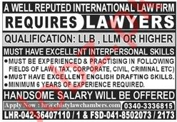 Lawyers Jobs 2019 in Lahore & Faisalabad