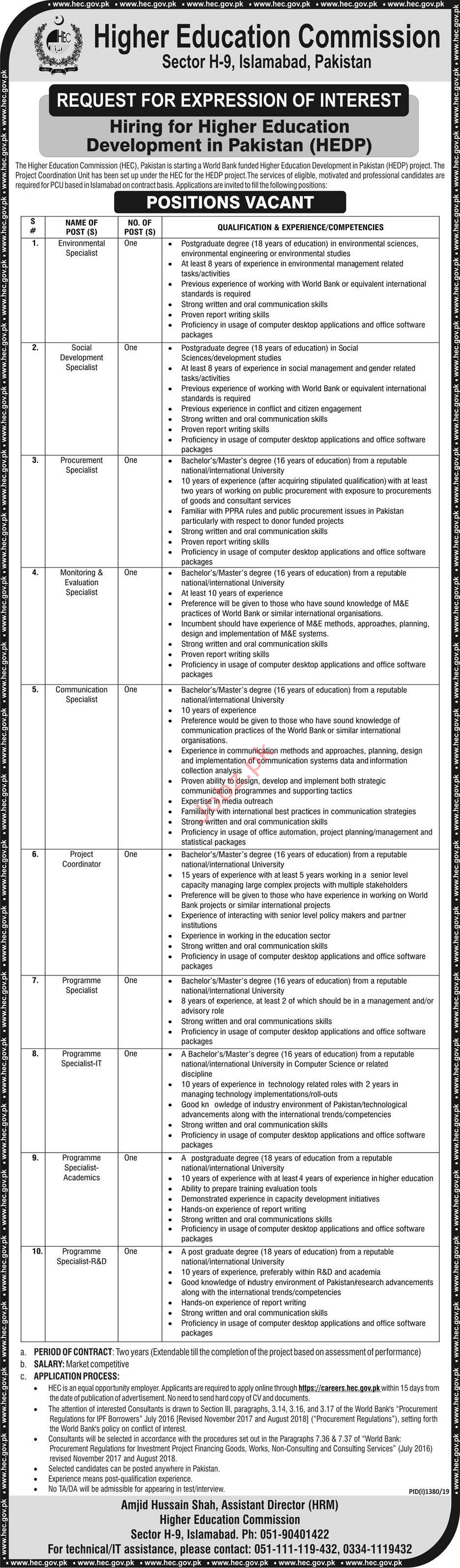 Higher Education Commission Jobs in Islamabad