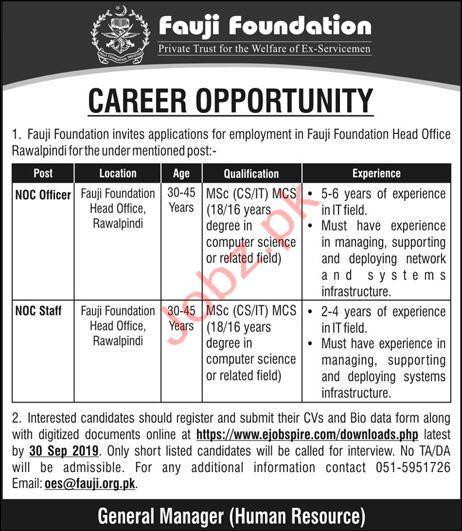 Fauji Foundation Head Office Jobs in Rawalpindi