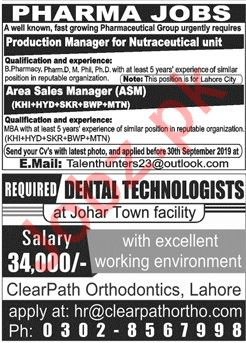 Production Manager & Area Sales Manager Jobs 2019
