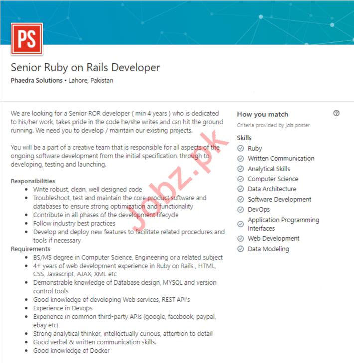 Senior Ruby on Rails Developer Job in Lahore