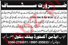 Oxford Public School Jobs For Teaching Staff in Manshera KPK