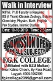 FGK College Faculty Jobs 2019 in Layyah