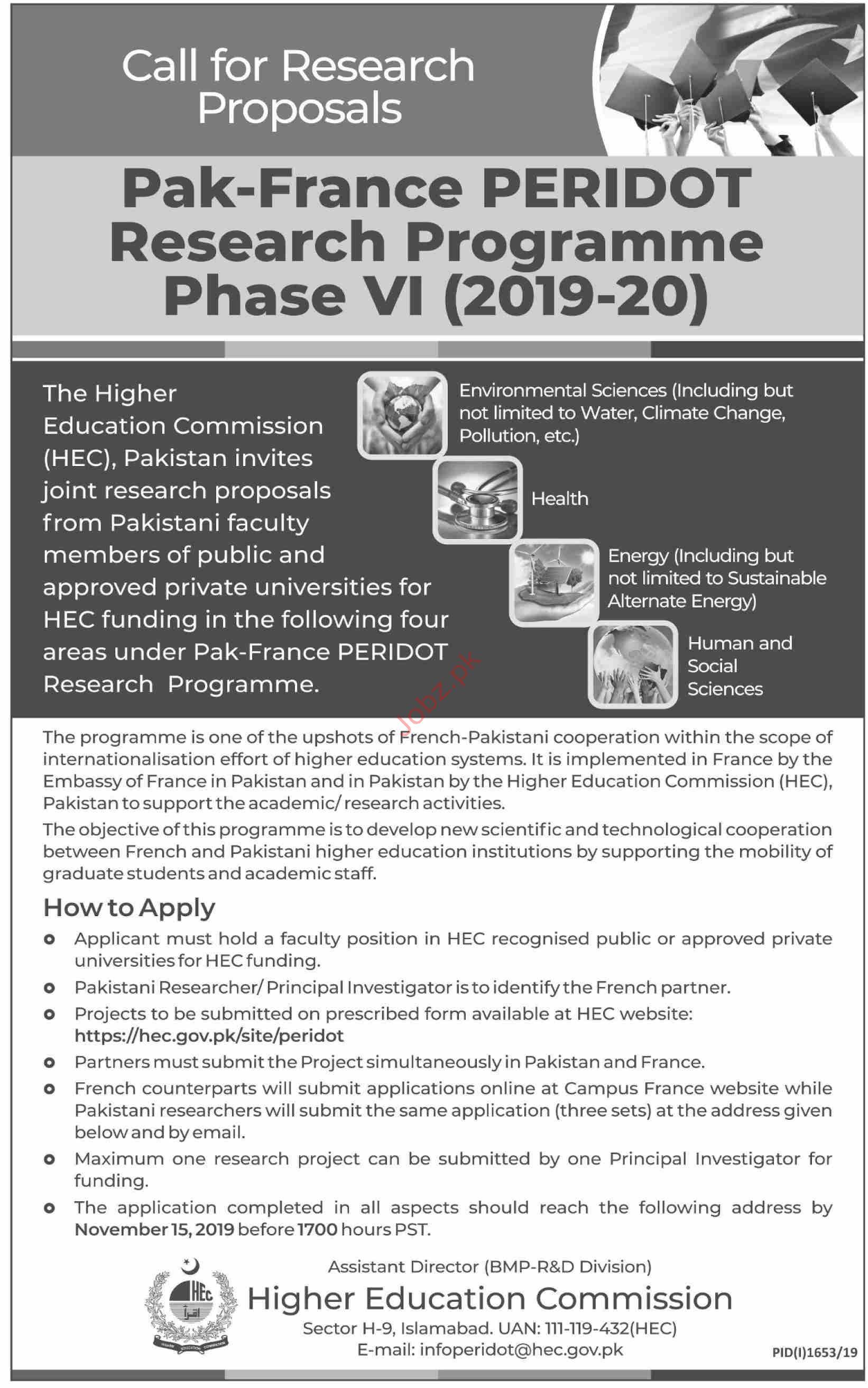 Pak France Peridot Research Programme HEC Islamabad