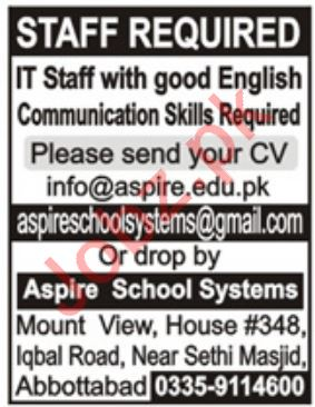 Aspire School Systems Jobs For IT Staff in Abbottabad KPK