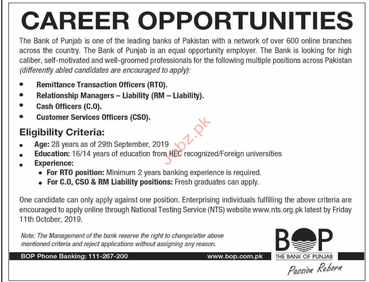 The Bank of Punjab Jobs Via NTS