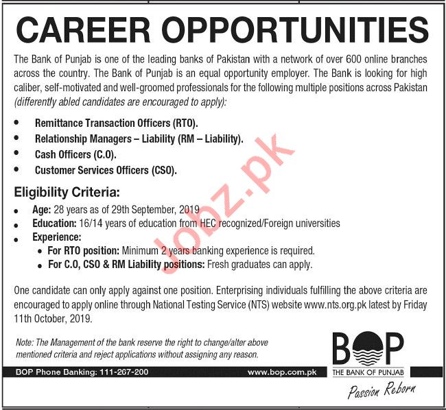 The Bank of Punjab BOP Jobs 2019 in Lahore via NTS