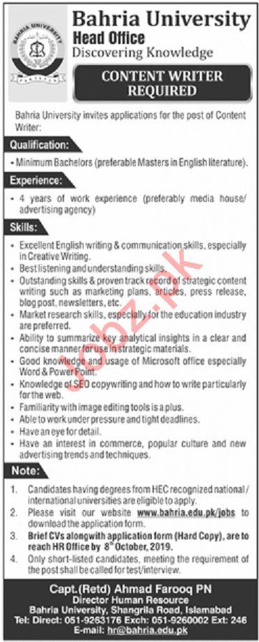 Bahria University Islamabad Campus BUIC Jobs 2019
