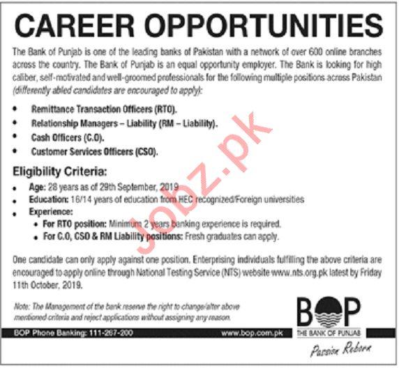 The Bank of Punjab BOP Jobs in Lahore via NTS