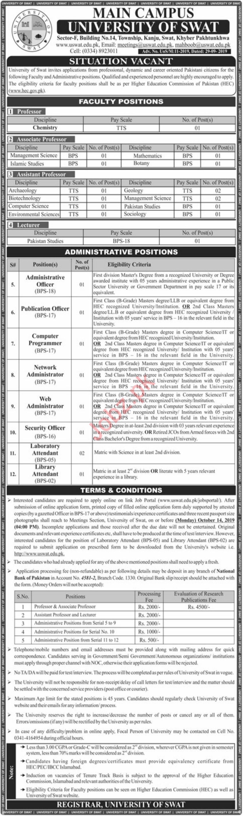 University Of Swat Main Campus Jobs 2019