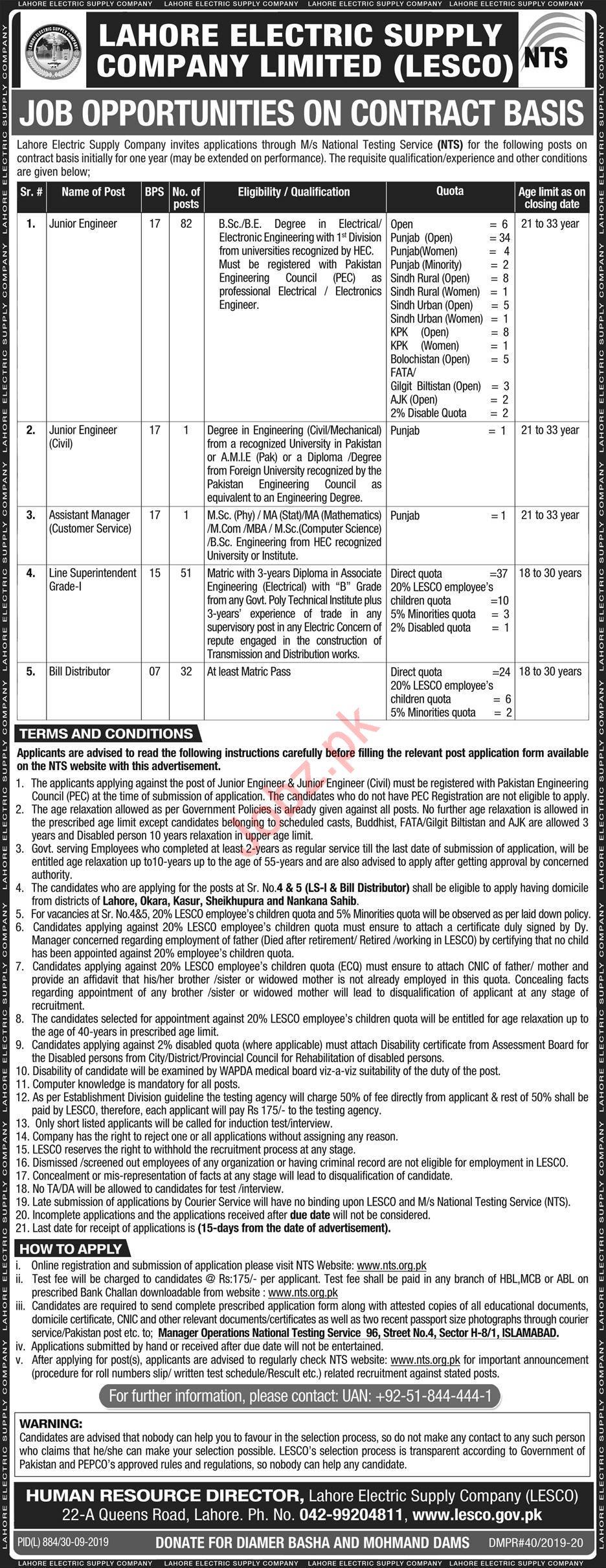 Lahore Electric Supply Company LESCO Jobs Via NTS