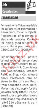 Teaching & Admin Jobs Islamabad