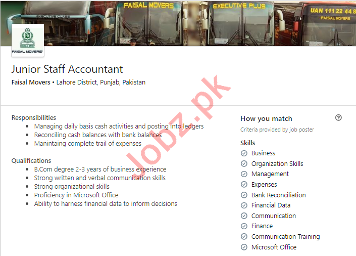 Faisal Movers Lahore Jobs for Junior Staff Accountant