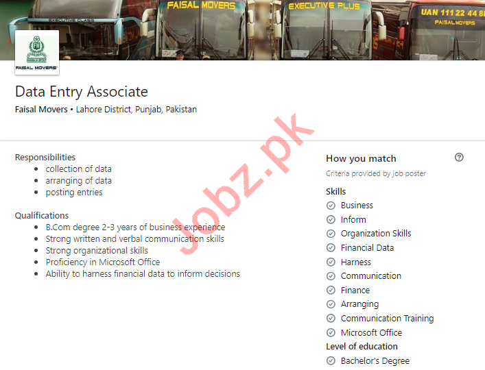 Faisal Movers Lahore Jobs for Data Entry Associate