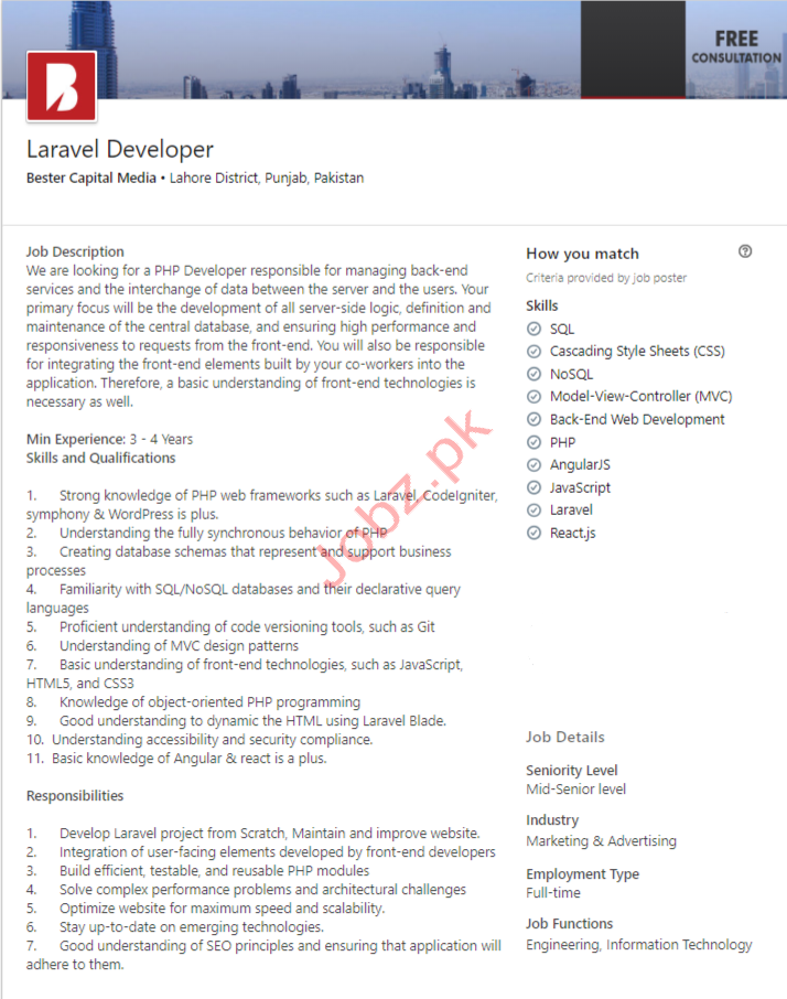 Laravel Developer Jobs in Lahore