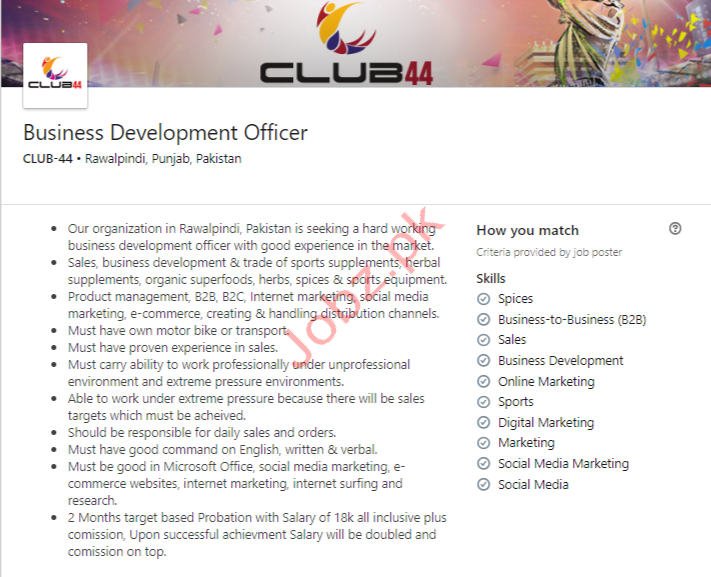 Business Development Officer Jobs in Rawalpindi