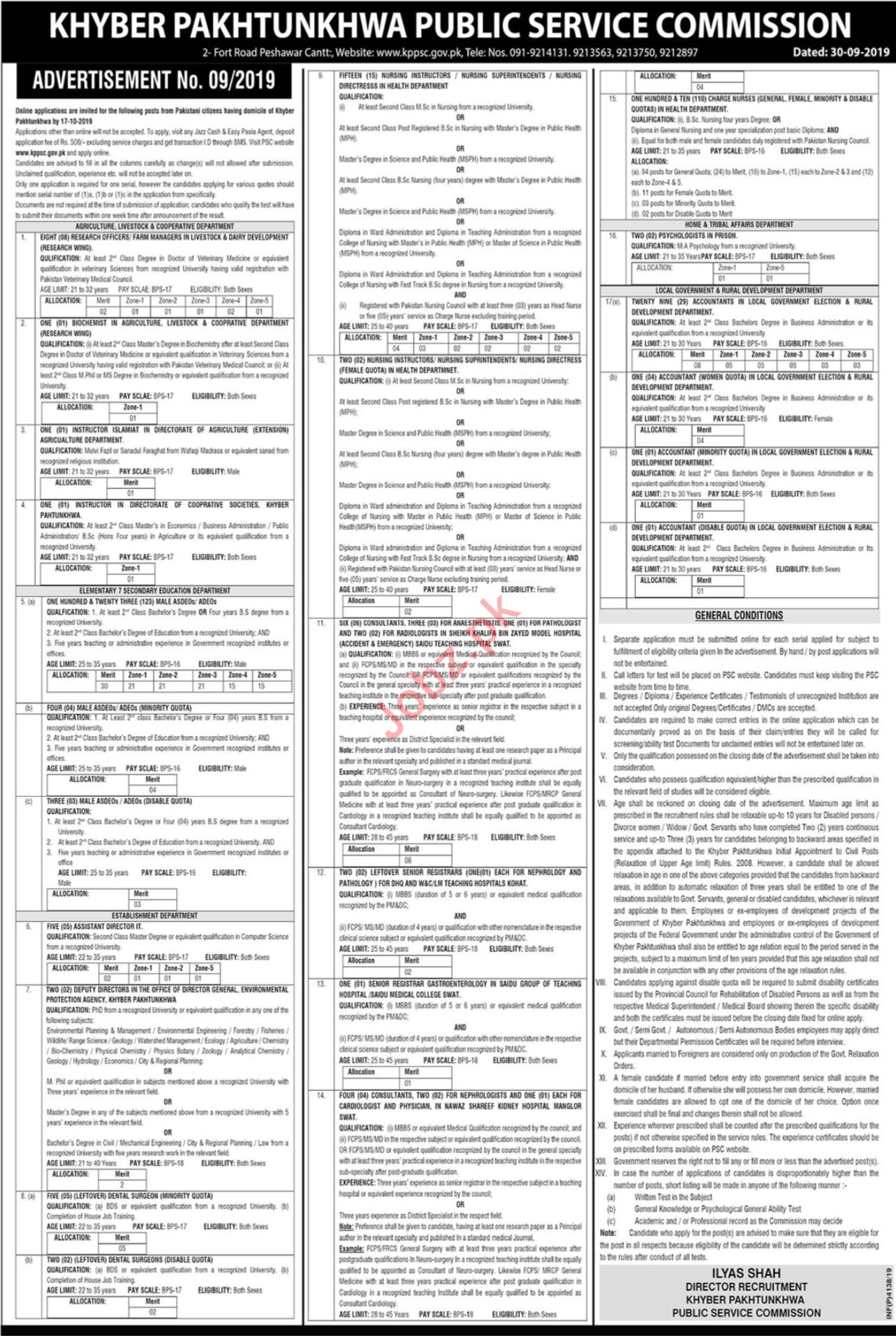 Khyber Pakhtunkhwa Public Service Commission Jobs 2019