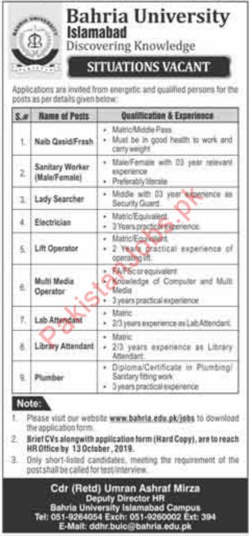 Bahria University Jobs 2019 in Islamabad