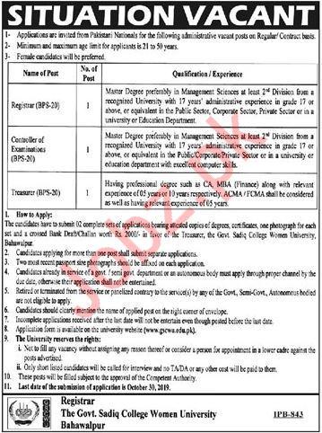 The Govt Sadiq College Women University Bahawalpur Jobs 2019