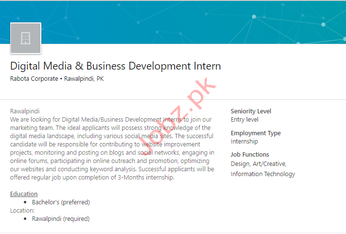 Digital Media & Business Intern Rawalpindi