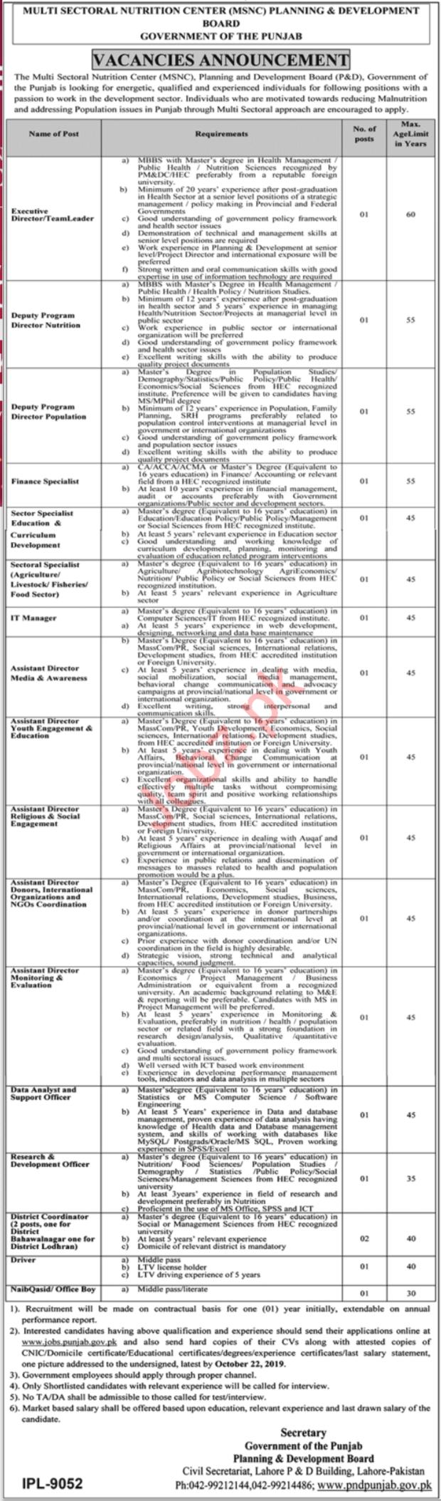 Government of Punjab Planning & Development Board Jobs 2019