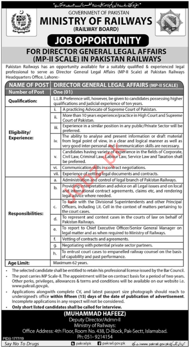 Ministry of Railways Job For Director General Legal Affairs