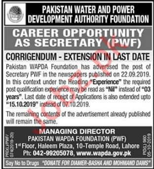 Pakistan Water & Power Development Authority Foundation Jobs