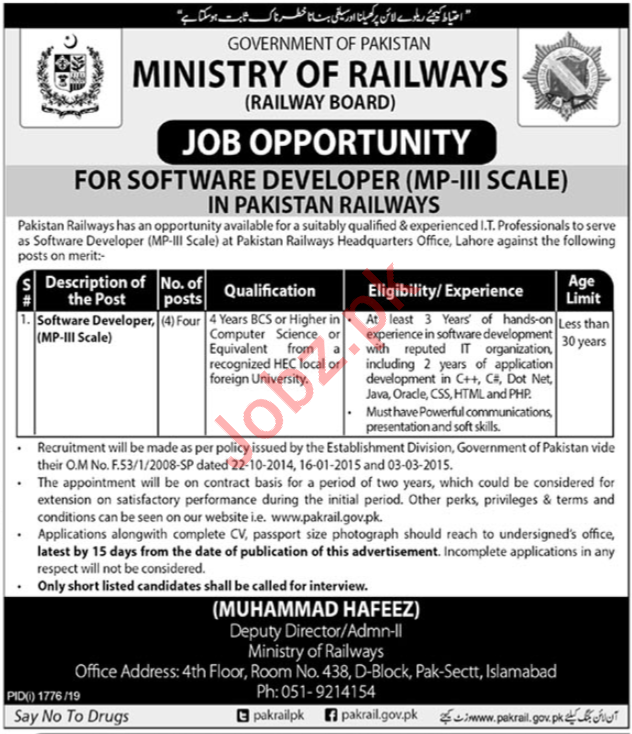 Ministry of Railways Jobs For Software Developers in Lahore