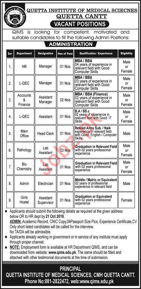 Quetta Institute of Medical Sciences QIMS CMH Jobs 2019