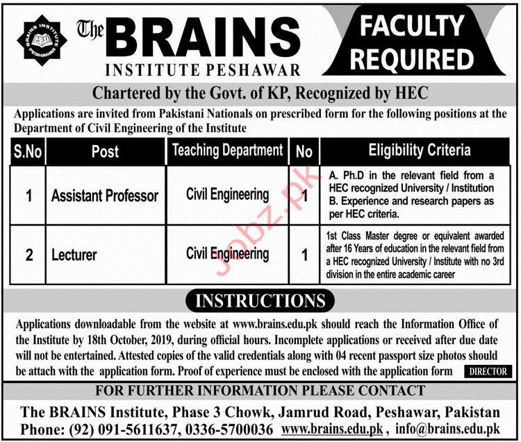 The Brains Institute Peshawar Jobs