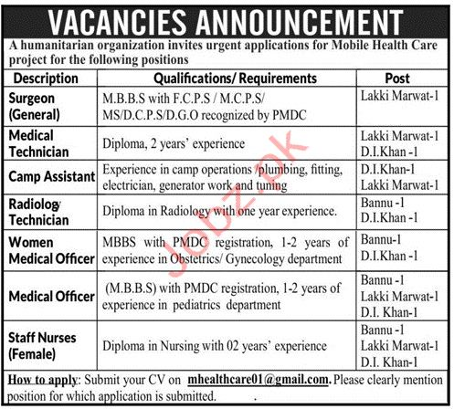 Mobile Healthcare Project Jobs in KPK